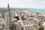 Terminal Tower with Cuyahoga River winding into Lake Erie